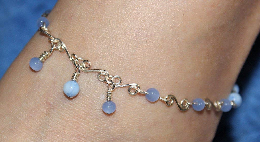 Beaded Anklet, Beaded Ankle Bracelet, Blue Anklet, Adjustable Anklet, Blue and Silver Jewelry, S Link Chain, Foot Jewelry