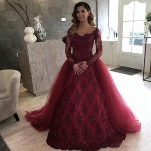Burgundy Prom Dress Overskirt Lace Detachable Long Sleeves 16 Sweet Girls Party Quinceanera Dresses