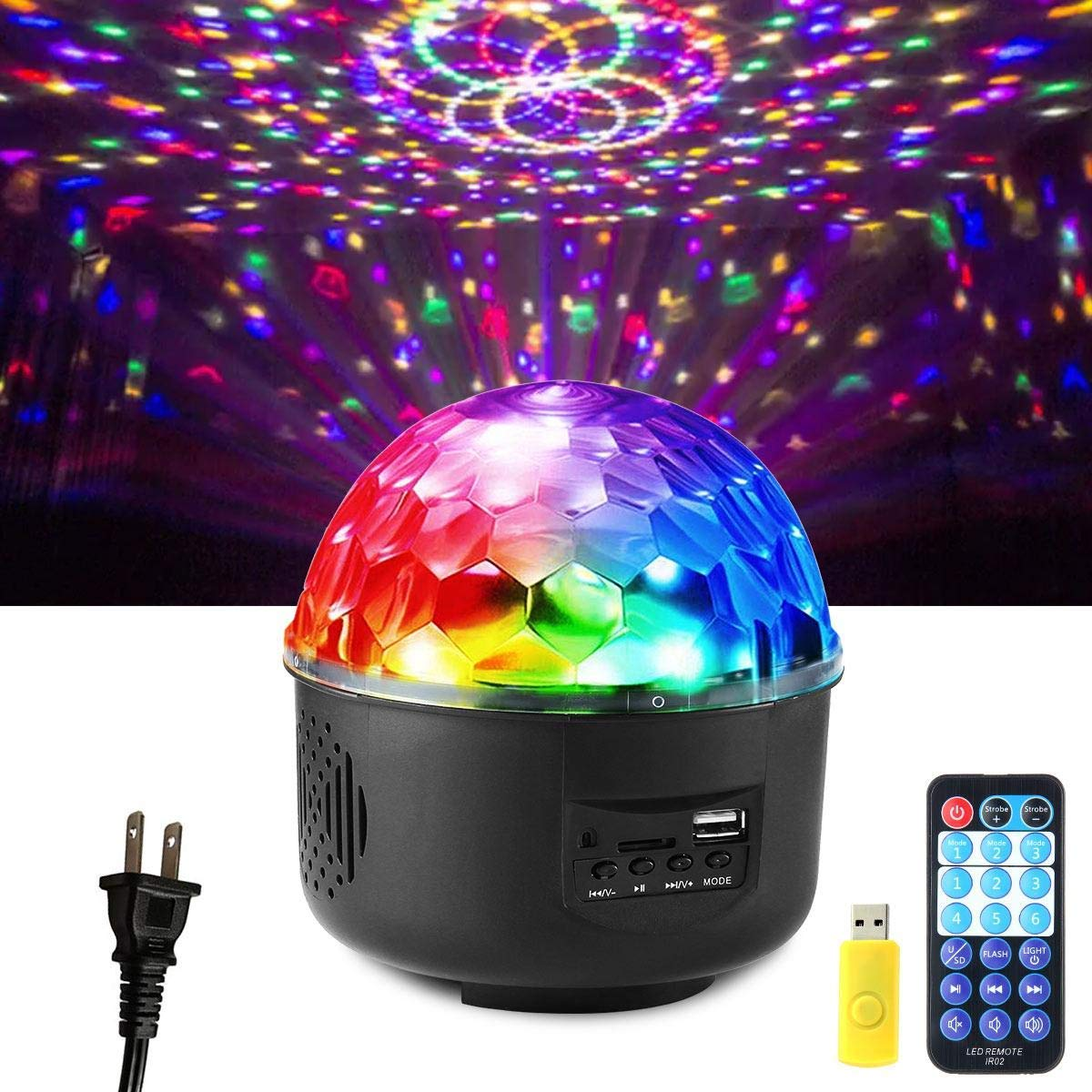 Leegoal DJ Lights, Sound Activated Party Lights Rotating Crystal Magic Ball Light Strobe Lamp 6 Modes Stage Par Light with Remove Control MP3 Play and USB for Disco, Home, Party, Birthday