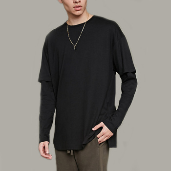 0376433cd50 Pure color men long sleeve black shirt oversized double layer sleeve slim  fit cuffs t shirt