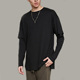 Pure color men long sleeve black shirt oversized double layer sleeve slim fit cuffs t shirt