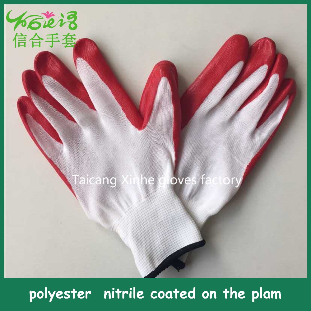 Colored Nitrile coated/ 13 needle polyester/PVC working glove