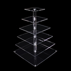 Custom 6 tier clear square acrylic wedding cake tower transparent cake dessert display stand