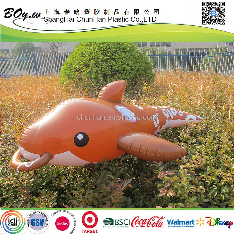 2017 new design factory OEM swimming fish kids floating pvc pool play toys dolphin ride on inflatable animal
