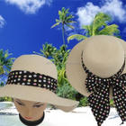 fashion wide brim striped brim up floppy beach ladies paper straw hat spot band with spots scarf