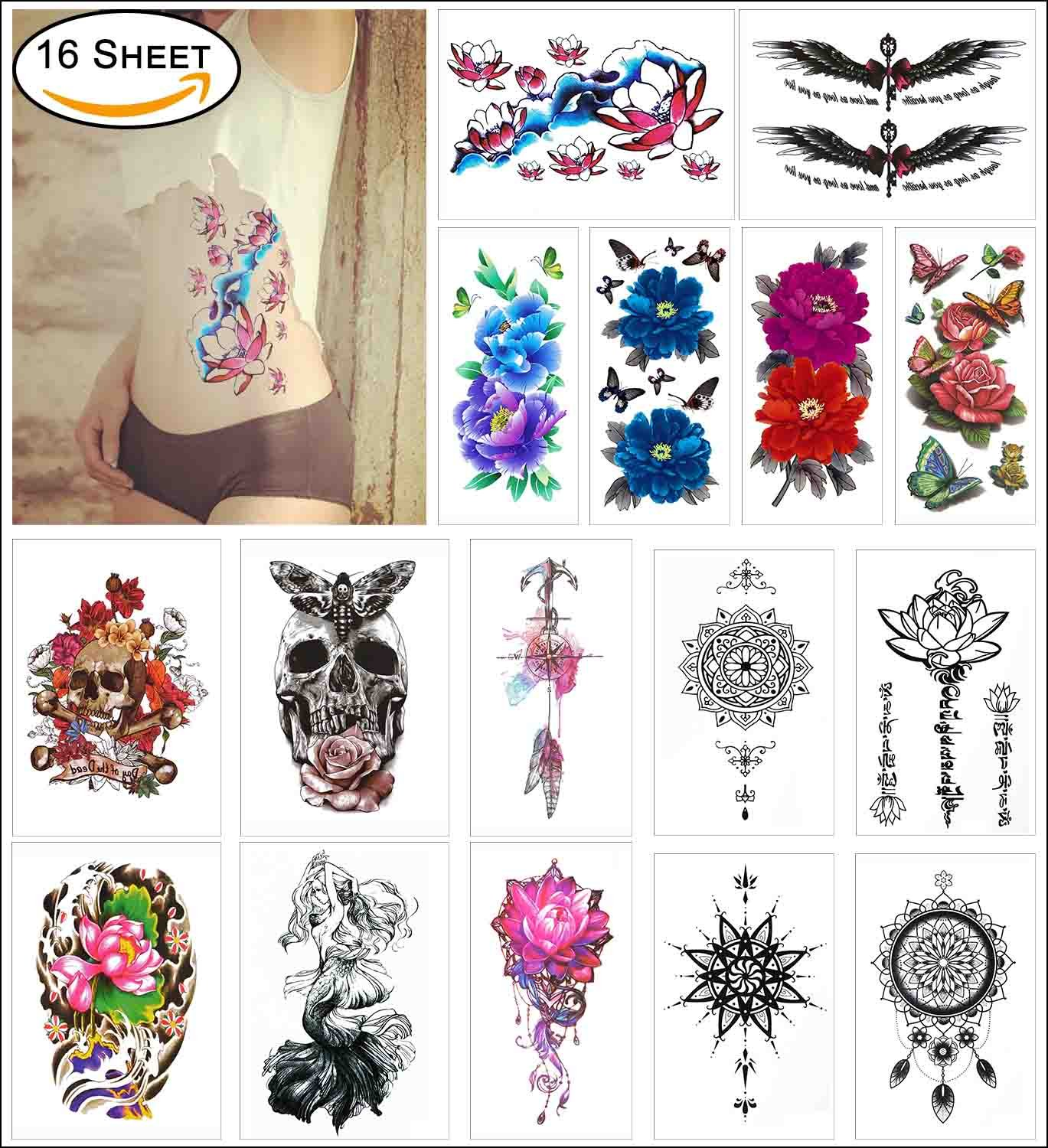 b5cd97a71 Get Quotations · COKOHAPPY 16 Sheets Temporary Tattoo for Girl for Women -  Large Body Sticker Flash Tattoo Arm