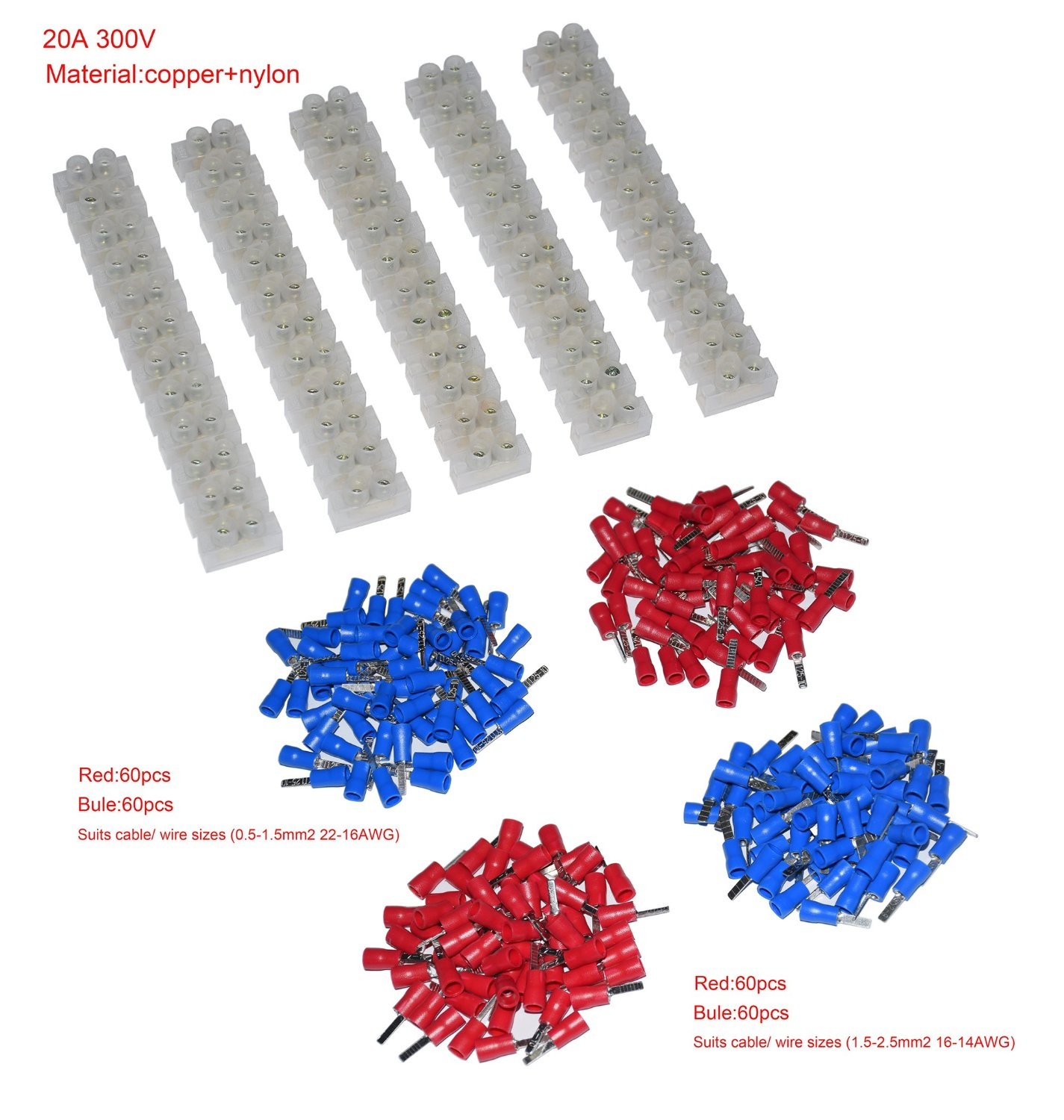 5Pcs 2 Rows 12P Wire Connector Screw Terminal Barrier Block 300V 20A + Insulated Electrical Wire Connector: (22-16 AWG Red/Blue 120 Pcs + 16-14 AWG Red/Blue 120 Pcs)