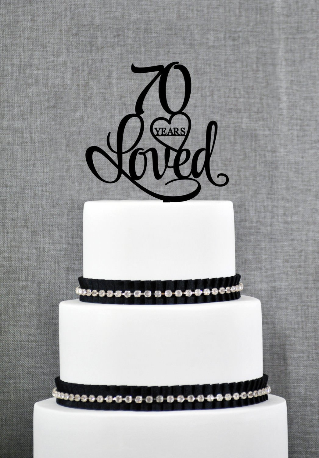 70 Years Loved Birthday Cake Topper Elegant 70th Anniversary Gift