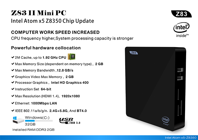 Original X5 Android 5.1 Mini PC Win 10 Intel Atom Quad-core 64bit X5-Z8350 LPDDR3 1600MHz 2GB Onboard 32GB eMMC 5.0