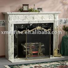white marble fireplace surrounding