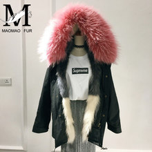 2017 Lady's Fox Fur Lining Famale Raccoon Fur Collar Coat / Wholesale Real Fur Woman Winter Jacket Coat