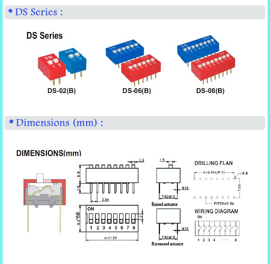 4 Pole Spst 8 Pin Mini Vertical Slide Switch For Pcb Board Buy Wiring Diagram