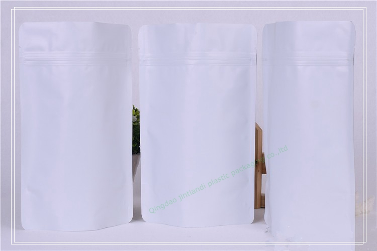custom made printed matte aluminum foil self standing flat bottom plastic white food packaging zipper bag