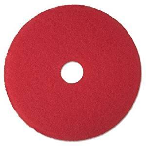 "3M 08392 Low-Speed Buffer Floor Pads 5100, 17"" Diameter, Red, 5/Carton"
