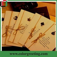 kraft paper handmade decoration two fold greeting card