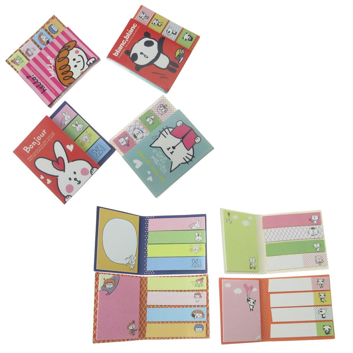 "Yueton 4 Pads/pack Post-it Page Markers,sticky Note Pads,marker Memo Flags Sticky Notes,2.9*2.9""self-stick Notes,100 Sheets Per Pad,animals Lovely Sticker Post-it Bookmark"
