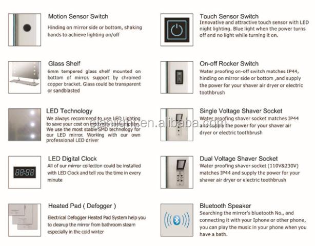 Optional Function For LED Lighted Hotel Mirror 1 Heated Pad Fog Free Defogger 2 Motion Sensor Switch 3 Clock 4 Shaver Socket