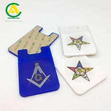 Silicone case Cell Phone Mobile Credit religious logo printing Card Holder 3M Sticker