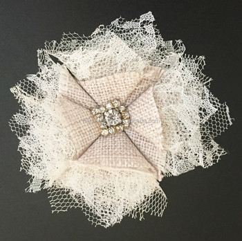 vintage lace and burlap flower with rhinestone center for wedding decoration