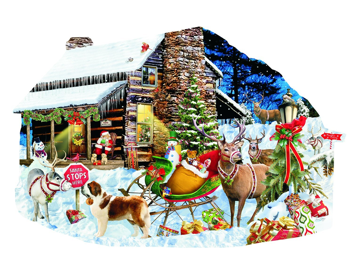 Santa's Rest Stop - Christmas Theme Puzzle - 1000 Pc Shaped Jigsaw Puzzle by SunsOut