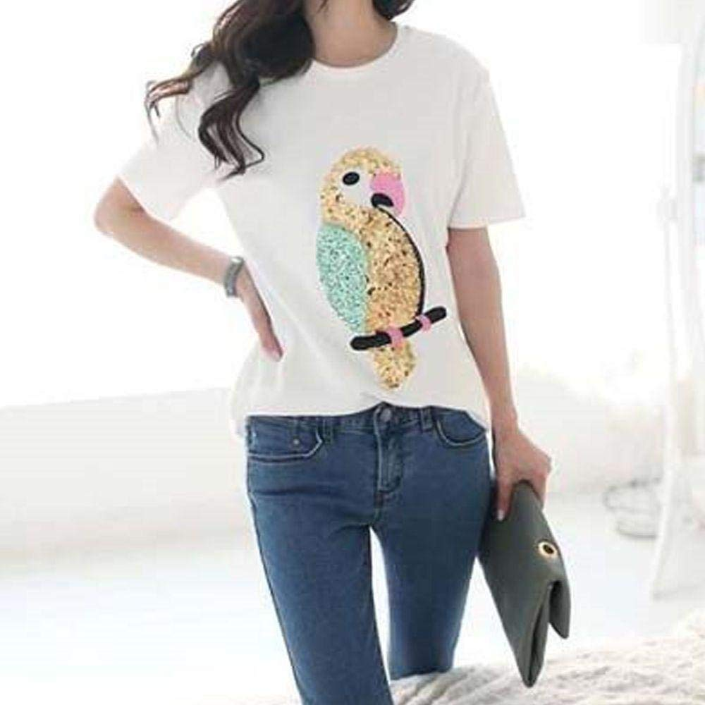 Cloudga Cartoon T-Shirt Jeans Embroidered Dress Paillette Cloth Stickers Patchwork Appliques Motif Badge Parrot Patches Sequins Patches Embroidery Patch Clothes Patch