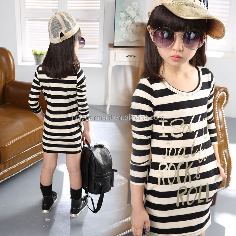 Custom kids clothes girls long sleeve letters silk screen printed t shirt dress striped casual /sport/school outwear thailand