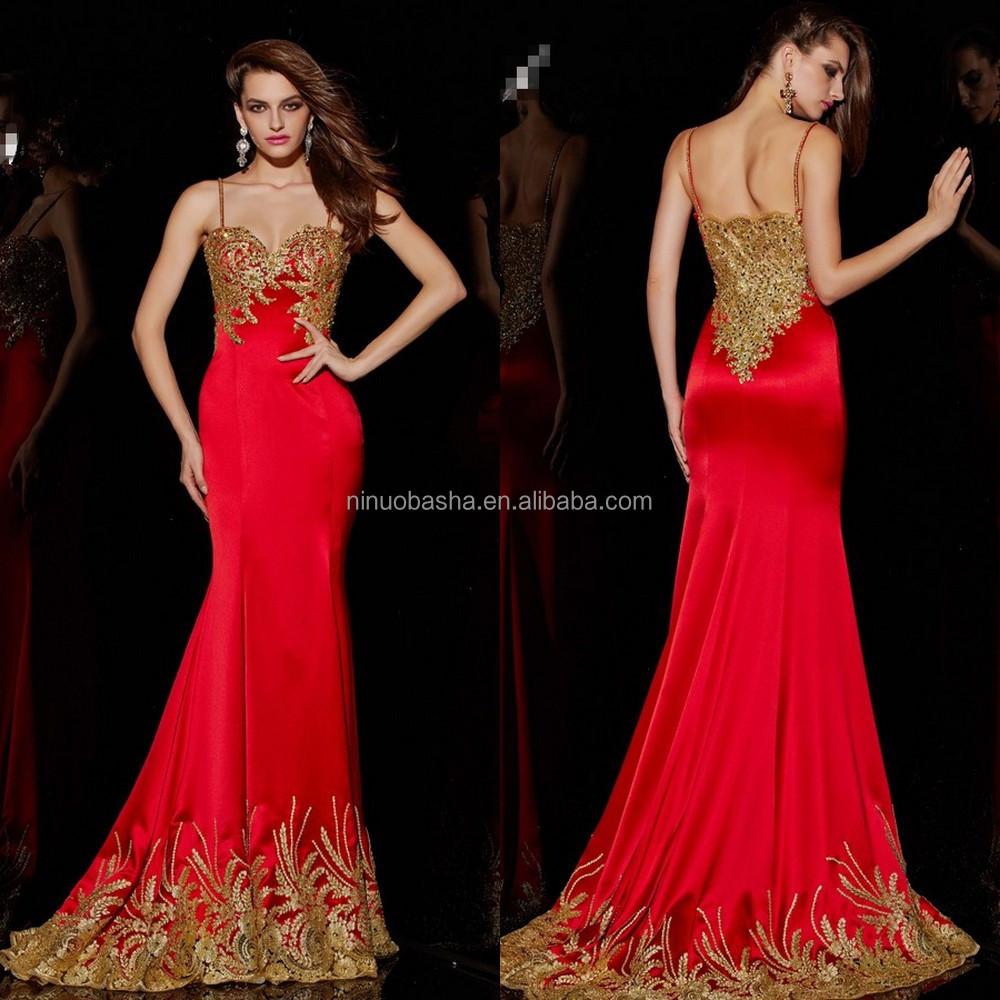 Vestidos de noche dorado con rojo