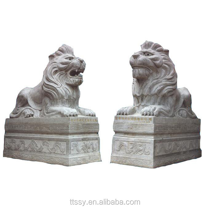 Carved garden marble lion statue