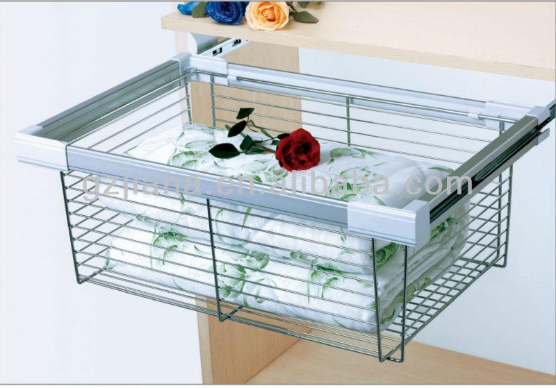China Cabinet Basket Storage Sliding Wire For Wardrobe