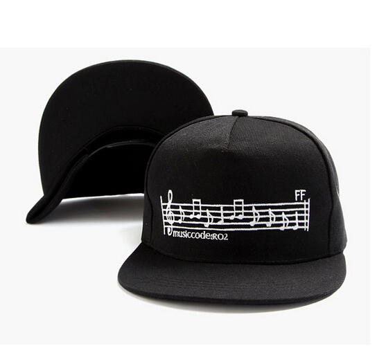 169bb01aae7 Get Quotations · New 2015 summer sheet music embroidery black sun hats flat  edge adjustable cap hip hop caps