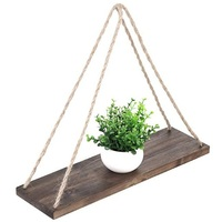 Wall Wood shelves hanging Swing With Jute Rope Rustic Home decor