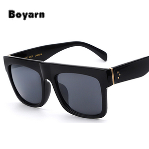 2017 New Vintage style Sunglasses Women Brand Designer Fashion Flat Top Female Glasses Big Square Top Quality Sunglasses UV400
