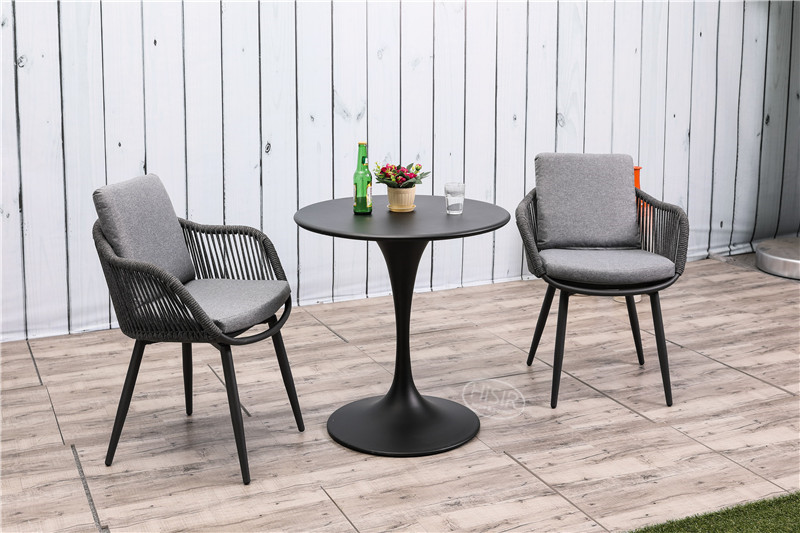 In stock outdoor aluminium plastic rope bistro set restaurant table with chair dining set