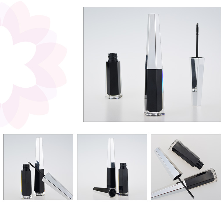 empty square eye liner container liquid eyeliner tube with roller