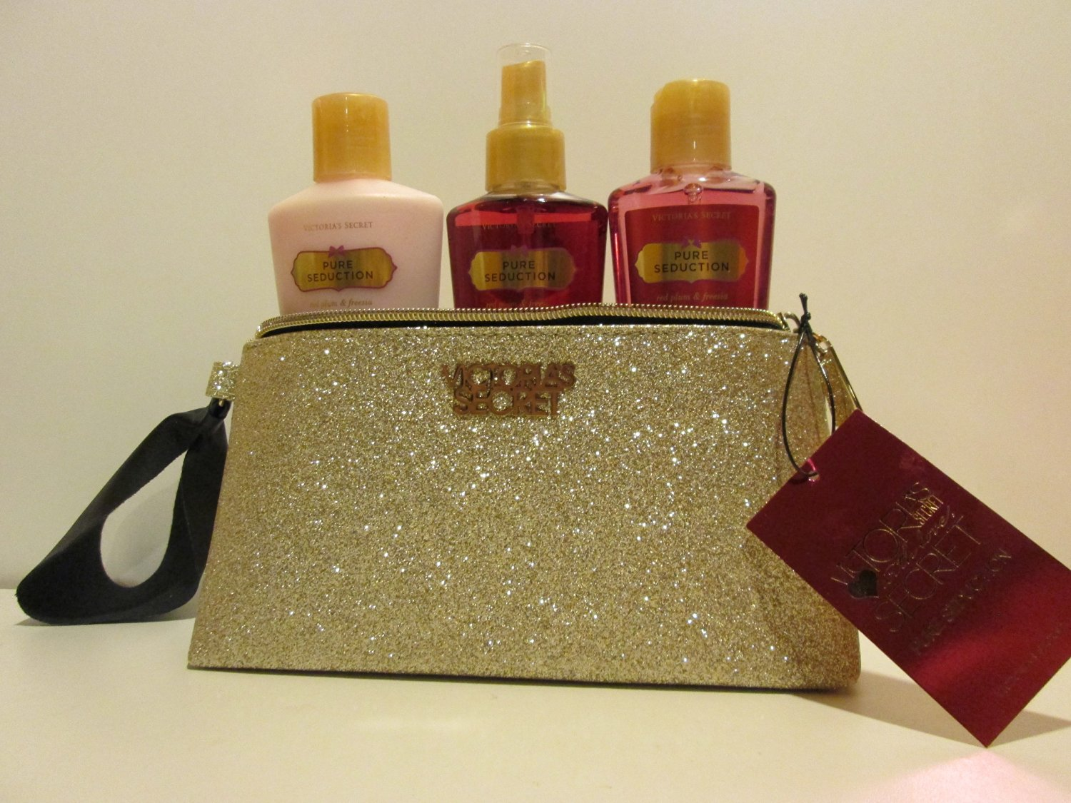 Victoria's Secret Pure Seduction Gift Set Light Gold Shimmery Bag with Pure Seduction Lotion, Mist, and Wash