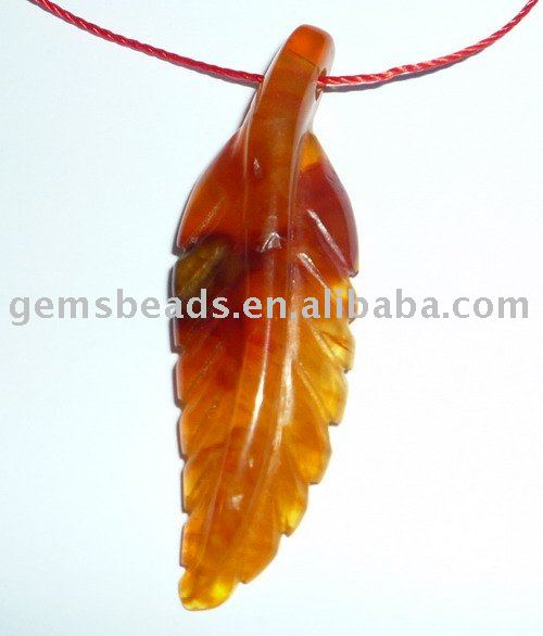 facotry supply fashion semi precious stone carving leaves gemstone pendant