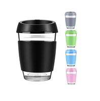 Amazon Hot Selling Customize Logo Reusable Glass Coffee Cups With Silicone Sleeve Borosilicate Glass Coffee Mugs