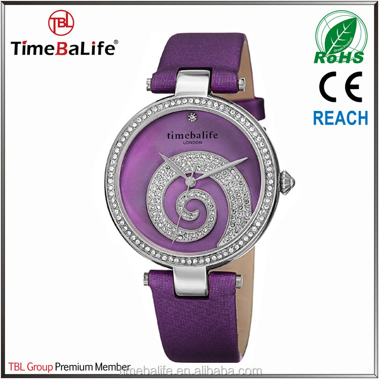 2017 New Product Custom Logo 3ATM Pearl Diamond dial Rotating crystal Purple surface Lady watch