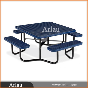 Multicolor Thermoplastic Coating Square Picnic Table Bench For - Square picnic table with benches