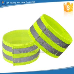 fluorescent green elastic reflective arm band Reflective Bands for running cycling