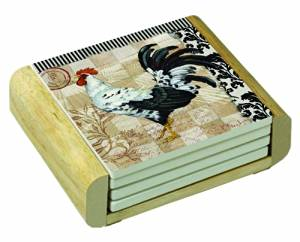 CounterArt Bergerac Rooster Design Square Absorbent Coasters in Wooden Holder, Set of 4 Assorted