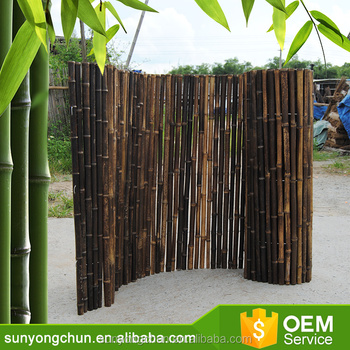 cheap natural roll threaded bamboo fence for gardening decoration