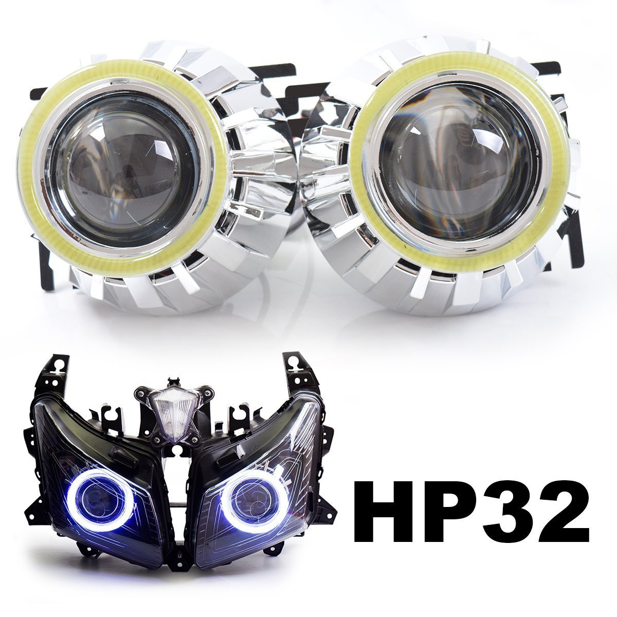 KT Tailor-Made HID Projector Kit HP32 for Yamaha T-Max 530 2012-2014 White Angel Eye