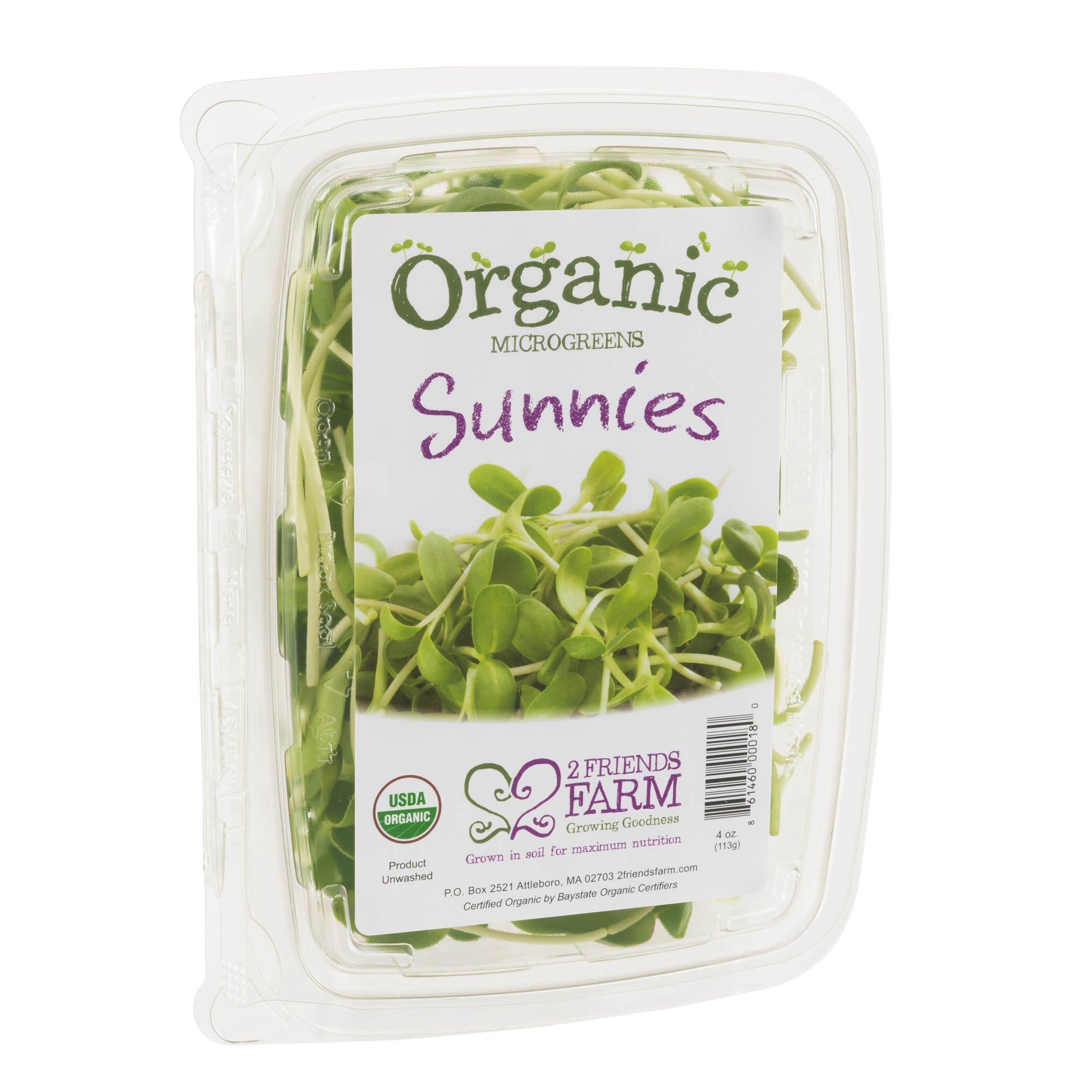 2 Friends Farm Local Northeast Organic Sunnies Microgreens 4oz