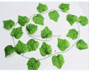 Artificial green 20pcs grape leaves 2.3 vines for wall hanging decoration