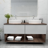 Modern bathroom vanity Australian standard wood grain readymade vanity units bathroom