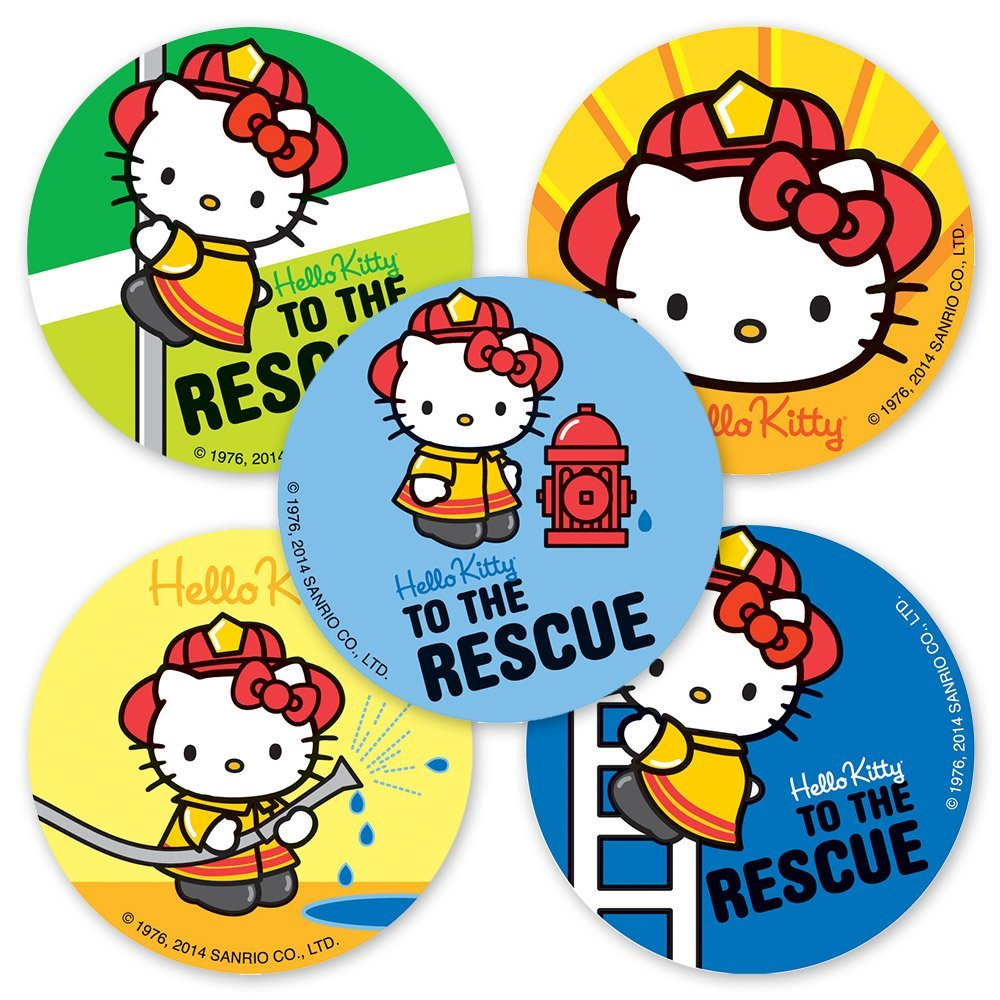 Hello Kitty Firefighter Stickers - 75 Per Pack