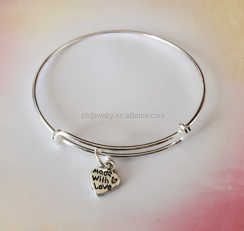 "Wholesale metal wire bracelet expandable wire "" made with love"" heart silver charm bracelet"