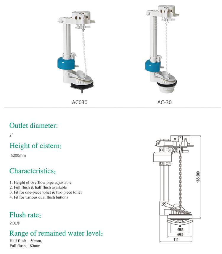 New fashion bathroom sanitary fitting ABS toilet flushing system