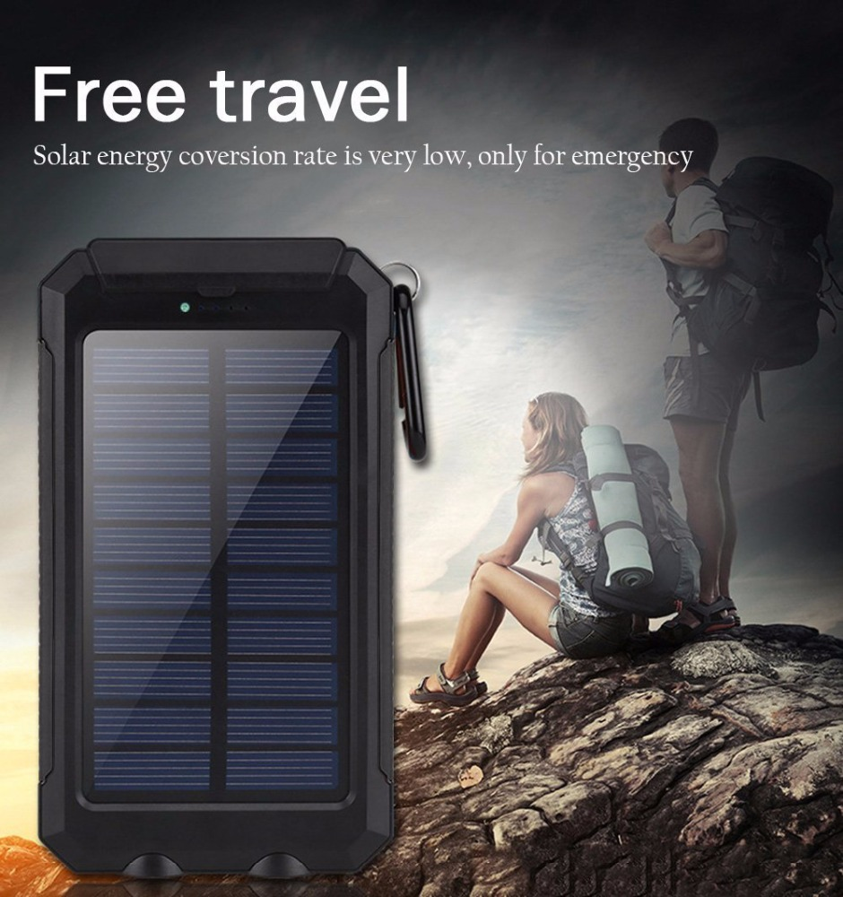With Flashlight Compass IP67 Waterproof Solar Charger External Battery Pack 10000mAh Solar Power Bank Phone Charger for Travel